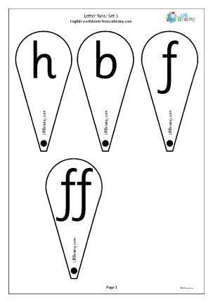 Preview of worksheet Letter fans: set 5. h b f ff l ll and ss