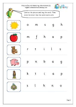 Preview of worksheet Picture Sound Matching (1)