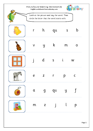 Preview of worksheet Picture Sound Matching (4)