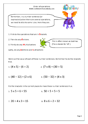 Preview of worksheet Order of operations