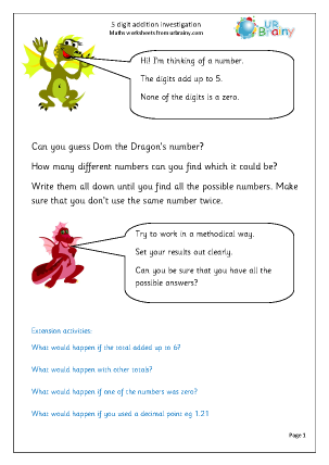 Preview of worksheet 5 digit addition investigation