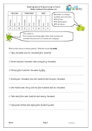 Preview of worksheet Reading and writing very big numbers