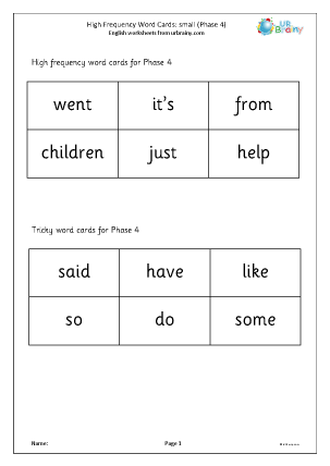Preview of worksheet High frequency  words (phase 4) small