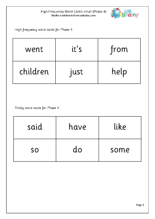 High Frequency  Words (4) Small