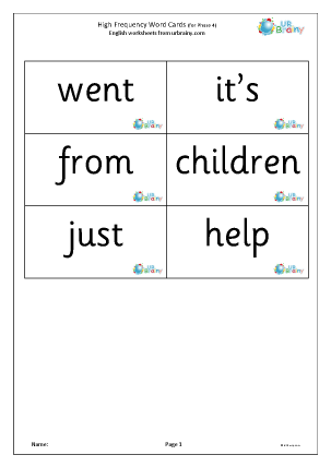 Preview of worksheet High frequency  words (phase 4) large