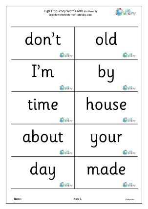 Preview of worksheet High frequency words (phase 5) large