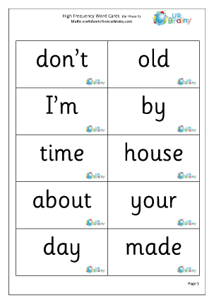High Frequency Words (5) Large