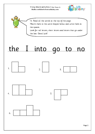 Preview of worksheet Tricky Word Activities (1)