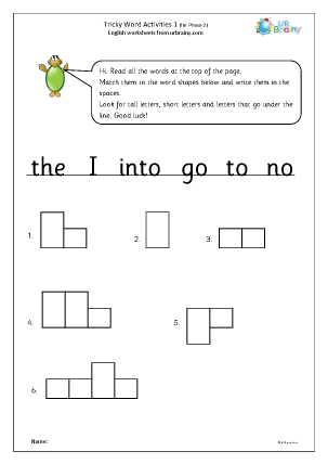 Preview of worksheet Tricky word activities (phase 2) 1