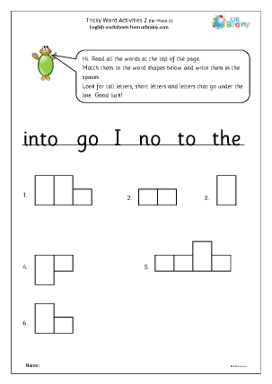 Preview of worksheet Tricky word activities phase (2) 2