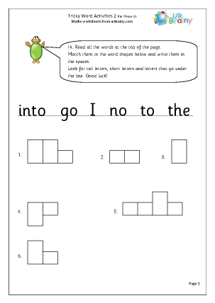 Preview of worksheet Tricky Word Activities (2)