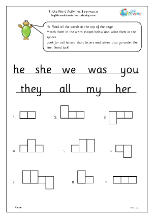 Preview of worksheet Tricky word activities (phase 3) 1