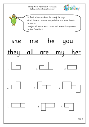 Preview of worksheet Tricky Word Activities (4)