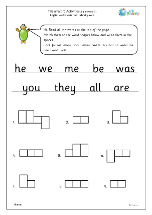 Preview of worksheet Tricky word activities (phase 3) 3