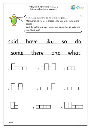 Preview of worksheet Tricky word activities (phase 4) 1