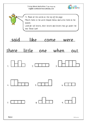 Preview of worksheet Tricky word activities (phase 4) 2