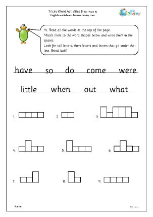 Preview of worksheet Tricky word activities (phase 4) 3