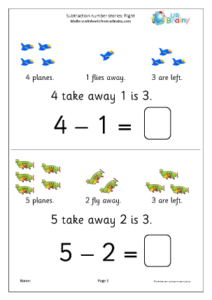 Subtraction number stories - flight