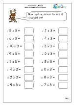 math worksheet : 3 times table 2 multiplication maths worksheets for year 3 age 7 8  : Maths Worksheets Times Tables