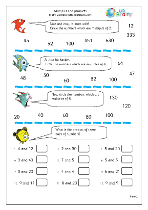 Preview of worksheet Multiples and products