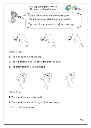 Preview of worksheet Ordering: left, right and middle