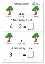 subtraction number stories apples subtraction maths worksheets for later reception age 4 5. Black Bedroom Furniture Sets. Home Design Ideas