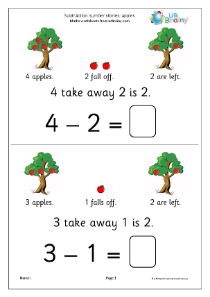 Free subtraction worksheets for reception