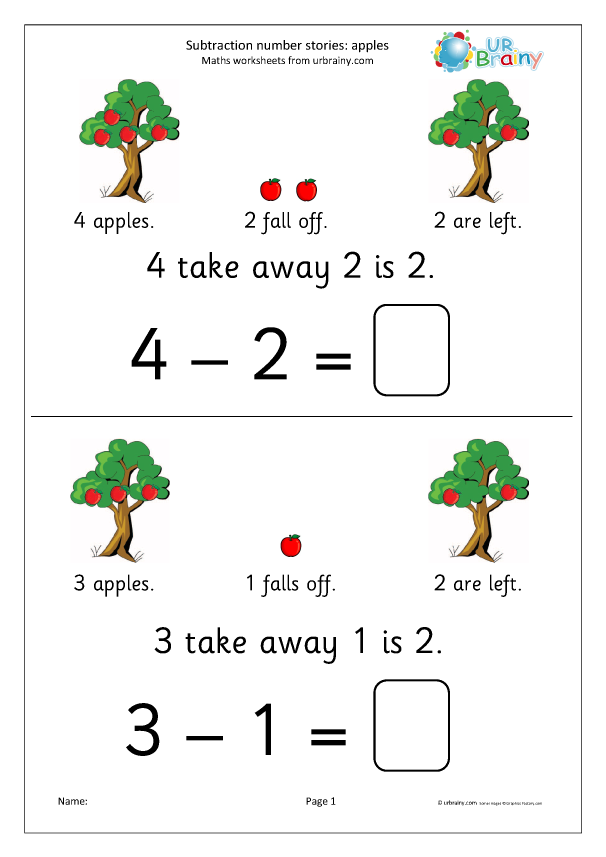 Preview of 'Subtraction number stories - apples'