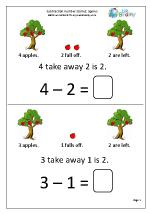 Subtraction Number Stories - Apples