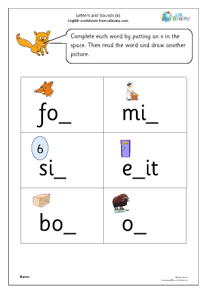 Preview of worksheet Letters and Sounds (x)