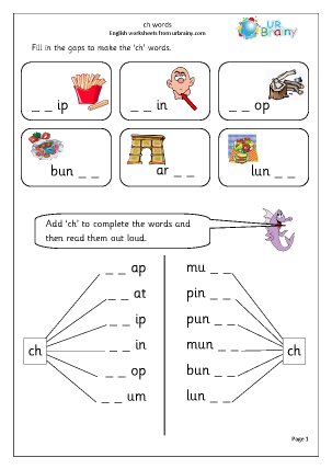 Preview of worksheet ch words