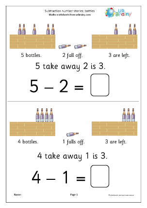 Preview of worksheet Subtraction number stories - bottles