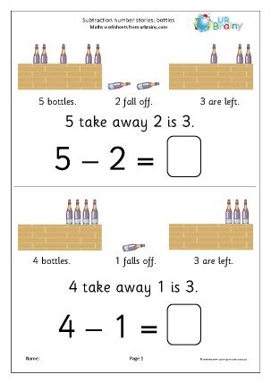 Subtraction number stories - bottles