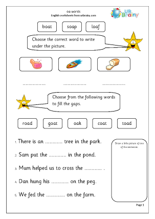 Preview of worksheet oa words