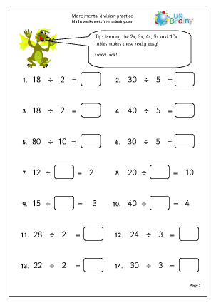 math worksheet : more mental division practice division maths worksheets for year 3  : Maths Year 8 Worksheets