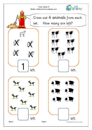 take away 4 subtraction maths worksheets for later reception age 4 5. Black Bedroom Furniture Sets. Home Design Ideas