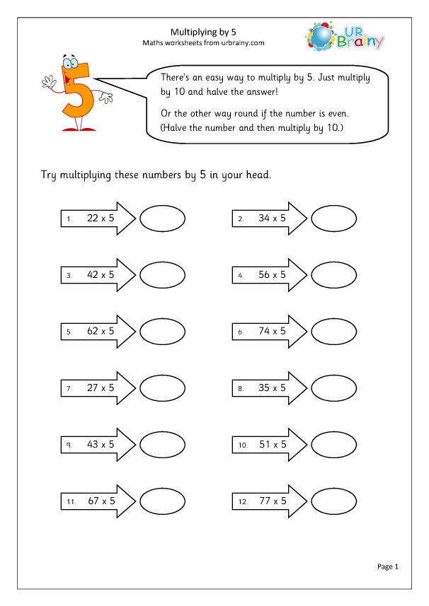 Preview of 'Multiply by 5 by multiplying by 10 and halving'