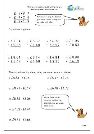 Preview of worksheet Subtracting money