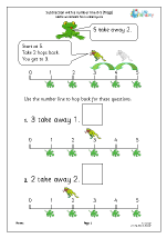 subtraction with a number line frogs subtraction maths worksheets for later reception age 4 5. Black Bedroom Furniture Sets. Home Design Ideas