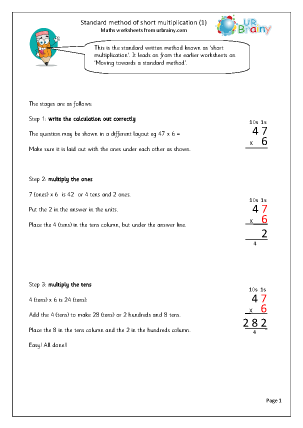 Preview of worksheet Standard method of short multiplication