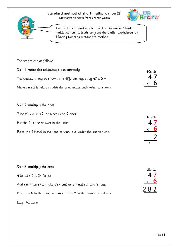 Preview of 'Standard method of short multiplication'