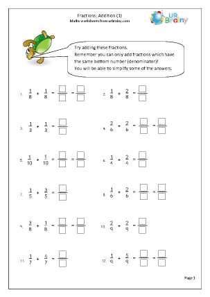 Preview of worksheet Addition of fractions