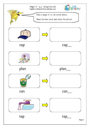 Preview of worksheet  Magic 'e' a_e (long a sound)