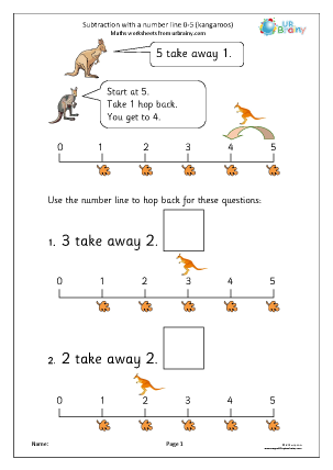 Preview of worksheet Subtraction with a number line - kangaroos