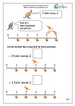 Subtraction With a Number Line - Kangaroos