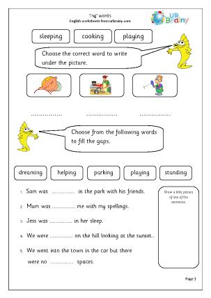 Preview of worksheet 'ing' Words
