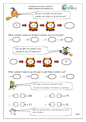 Preview of worksheet Halloween number problems