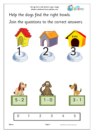 Preview of worksheet Using the subtraction sign - dogs