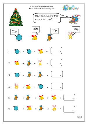 Preview of worksheet Christmas tree decorations (1)