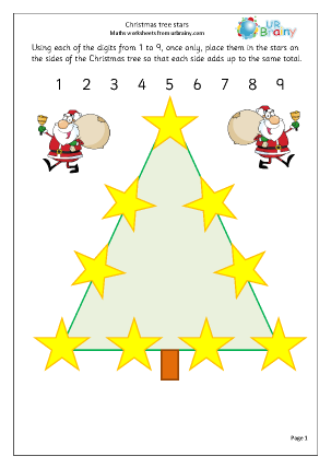 Preview of worksheet Christmas tree stars
